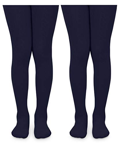 Jefferies Socks Girls School Uniform Cable and Rib Tight 2 Pack (10-14 Years, Navy Cable Knit)