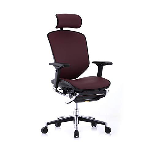 Silla de oficina ergonómica para ordenador, silla de escritorio + tumbona fija Shubao + soporte para portátil, Material:, Burgundy+a, talla