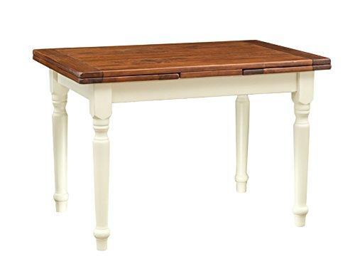 Table Country extensible en bois de tilleul massif, structure blanche antique en noyer 120 x 80 x 80 cm