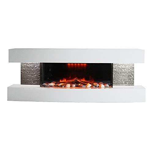 Elektrokamin ElectricSun Paula mittelgroß weiß modern mit LED Technologie 3D Flammeneffekt, 48 inch, 120x46x31cm, 2000W