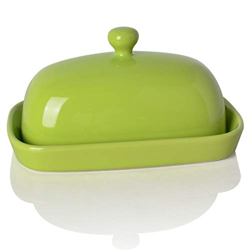 SWEEJAR Ceramics Butter Dish with Lid, Butter Keeper Container, East/West Coast Butter, 7 inches