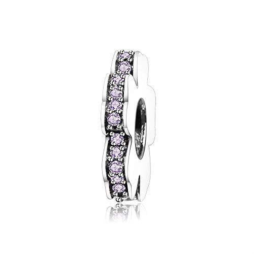 LIIHVYI Pandora Charms para Mujeres Cuentas Plata De Ley 925 Espaciador De Flores con Regalo De Joyería De Europa Púrpura Compatible con Pulseras Europeos Collars