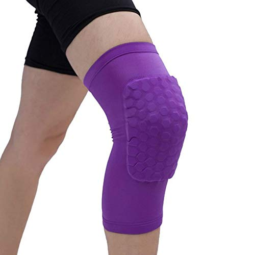 YUXIN Zhaochen Pads Honeycomb Knie, einteiliger, Basketball Knieschützer, Sport, for Volleyball und Knieschützer, Unterstützung Straps, Kompression Ärmel, for den Fußball (Color : Purple, Size : S)