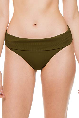 Melissa Odabash Women's Brussels Ribbed Banded Hipster Bikini Bottom Olive Ribbed 8
