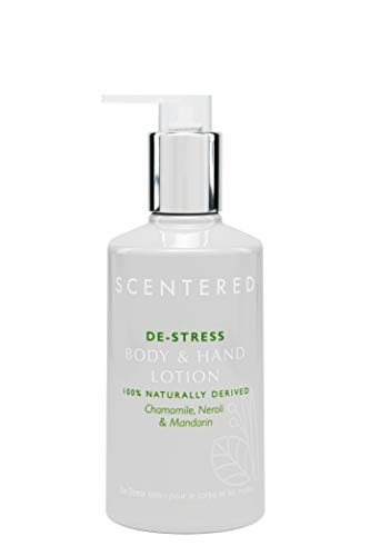 Scentered DE-STRESS Aromatherapy Hand & Body Lotion/Moisturising Cream - Supports Relaxation & Calmness - Chamomile, Jasmine & Cedarwood Blend