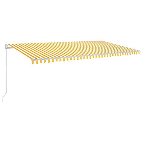 vidaXL Toldo Automático LED Sensor de Viento Plegable Manivela Ventana Sombrilla Jardín Terraza Balcón Ajustable Impermeable Amarillo Blanco 600x300cm