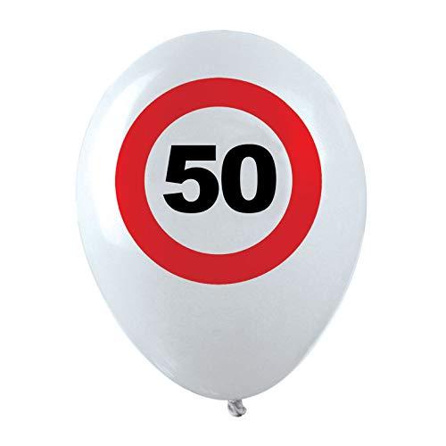TrendClub100® Geburtstag Luftballon - Traffic Sign - Verkehrsschild Schild - 12x Nr. 50