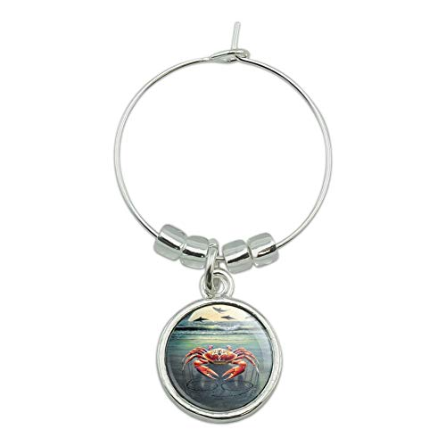 Zodiac Cancer Crab on the Tropical Moonlit Beach Wine Glass Charm Drink Marker