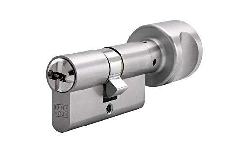 WINKHAUS N-Tra Knaufzylinder 55/55K inkl. 5 Schlüssel - Wendeschlüssel-Sicherheitszylinder - Sicherungskarte - Patentschutz bis 2029 (K=Knaufseite) (Gleichschließung)