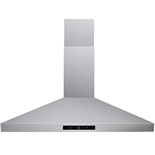 DKB Range Hood 30' Inch Wall Mount in Brushed Stainless Steel | Premium Grade Baffle Filters | 400 CFM | 3 Speed Fan | Easy to Use Touch Sensitive Control Panel | LED Lights