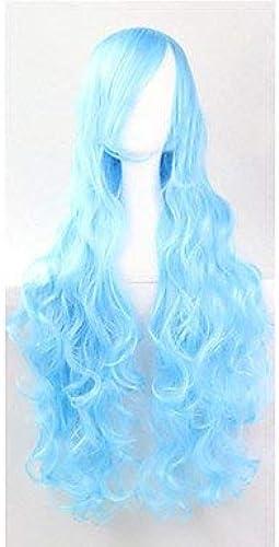 Xinsushp Home Le Nouveau Wig80CM à Poil Long Bleu et Ciel à Haute température de Fil européen et américain