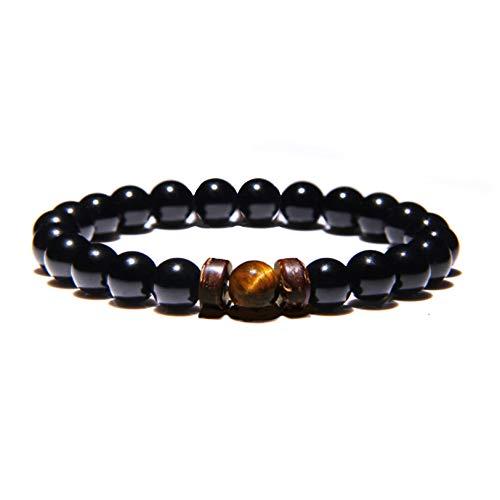 Zense ZB0343 - Pulsera ajustable para hombre, perlas negras lisas Magma y ónix