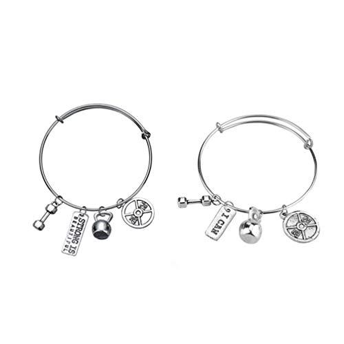 Garneck 2 Pcs Bijoux Inspirants Bracelet Réglable en Alliage Haltère Haltère Pendentif Bracelet pour Dames Femmes Fitness Sports Cadeau (B075 B076)
