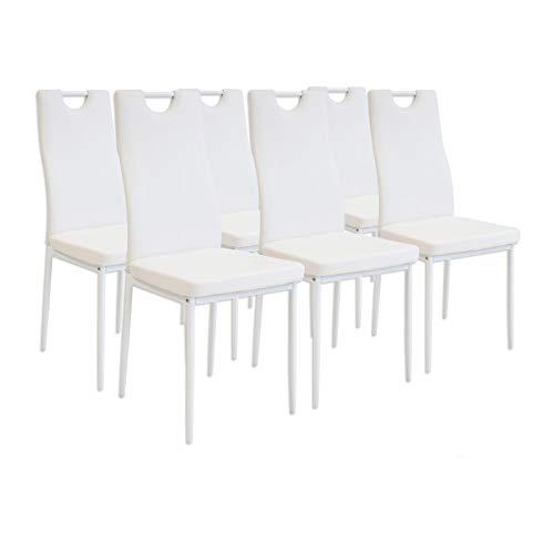 Albatros 2915 Salerno Set de 6 sillas de Comedor, Blanco