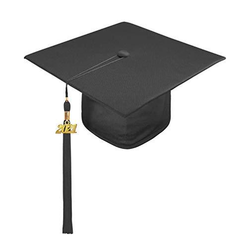 laamei Doktorhut 2021 Bachelor Hut Abschluss Hut Unisex Abiturmütze Studentenhut Graduation Cap mit Quaste für Abschlussfeiern vom Studium, Universität, Hochschule, Abitur(Schwarz,One Size)