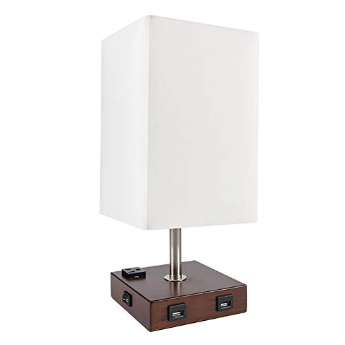 DEEPLITE Table Lamp Bedside Nightstand Lamp with Dual USB Ports and Outlet, Modern Desk Lamp with Brown Wooden Base Fabric Shade, Ambient Light for Bedroom, Living Room, Gust Room, Office (Square)