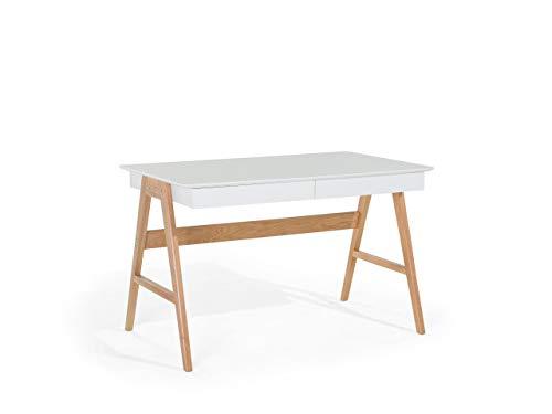 Beliani Moderner Schreibtisch 2 Schubladen MDF-Platte/Eichenholz weiß Sheslay