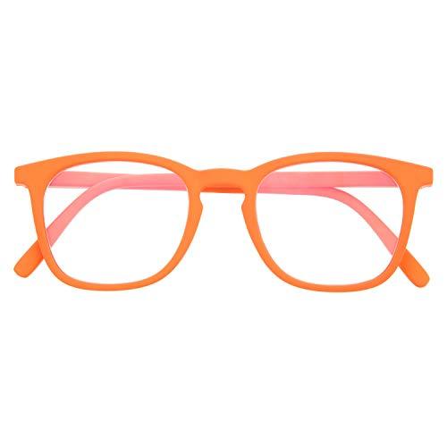 Gafas de Presbicia con Filtro Anti Luz Azul para Ordenador. Gafas Graduadas de Lectura para Hombre y Mujer con Cristales Anti-reflejantes. Carrot +2.0 – TATE