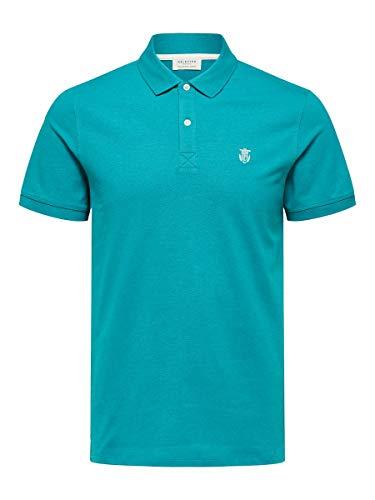 SELECTED HOMME Herren 16049517 Poloshirt, Türkis(Quetzal GreenMELANGE), X-Large