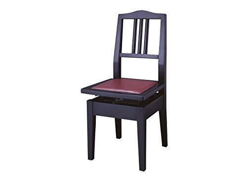 YAMAHA / ヤマハ 製 ピアノ専用椅子 No.5 A 黒 / 半艶塗装 背もたれ付 / 高低自在イス