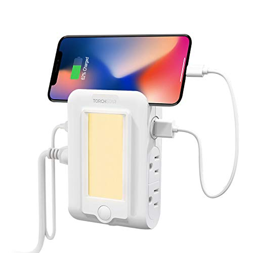 TORCHSTAR Wall Mount Outlet with Dusk to Dawn LED Night Light, 2 USB Ports & 4 AC Outlets Charging Station, ETL Listed, Surge-Protected Power Socket Extender with Phone Holder