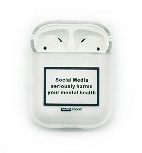 HYPExSTORE® Apple AIRPODS 1 & 2 kompatibel CASE Social Media Seriously Harms Your MENTAL Health Off ANHÄNGER White Cover SCHUTZHÜLLE AIRPOD Streetwear Transparent Clear Crystal