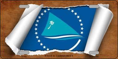 Koopje Wereld Pacifische Gemeenschap Vlag Scroll Metaal Nieuwigheid License Plaat (Met Sticky Notes)
