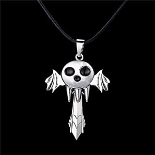 Mct12 - MJ Jewelry Anime Cartoon Cosplay SOUL EATER Cross Pendant Necklace Sword Wings Rotatable Quality