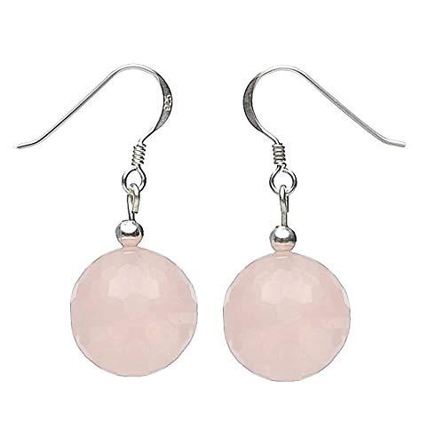 Pendientes EarDrops hecha de auténtica rosa cuarzo y 925Plata ø14mm Ladies facetado