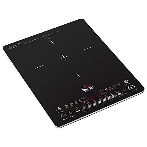 HOMCOM Piastra a Induzione Portatile 2000W, Tasti Touch e Display LED, 8 Menu Preimpostati e 8 Temperature, Timer 4 Ore e Blocco di Sicurezza