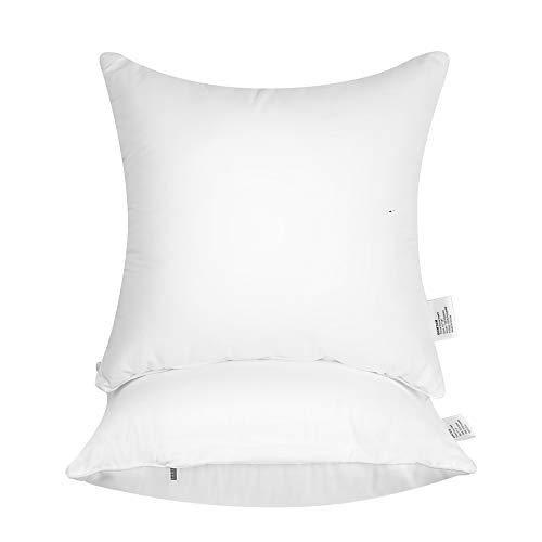 Eomtam Kisseneinlagen (2er-Set) – Kisseneinlagen mit Bezug aus 100% Baumwolle 16''x 16'',2 Pack weiß
