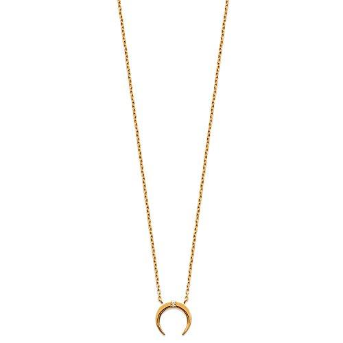 Halskette mit Anhänger, vergoldet und Zirkonia, Mondsichel