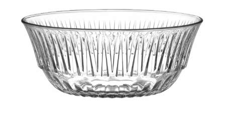 LAV Glass Serving Ridged Desert Dish Decorative Tableware Trifle Bowl, Transparent, 2200Cc