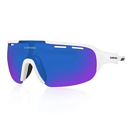 Queshark Sport Sonnenbrille Fahrradbrille Sportbrille mit UV400 4 Wechselgläser inkl Schwarze polarisierte Linse für Outdooraktivitäten wie Radfahren Laufen Klettern (C08)