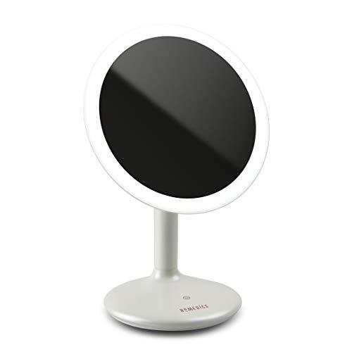 Homedics Miroir grossissant lumineux a poser avec lampe LED a variation d'Intensité – Rechargeable sans pile – Maquillage, coiffure et épilation faciles –1x ou 5x – Sans fil
