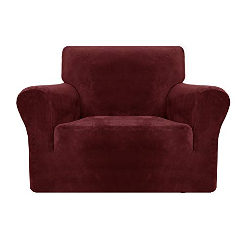 MAXIJIN Thick Velvet Chair Covers for Armchairs Super Stretch Non Slip Sofa Cover 1 Seater Dogs Cat Pet Living Room 1-Piece Elastic Couch Protector Chair Slipcover with Arms (1 Seater, Wine Red)