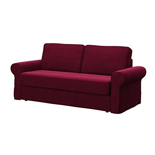 Soferia - IKEA BACKABRO Funda para sofá Cama de 3 plazas, Elegance Burgund
