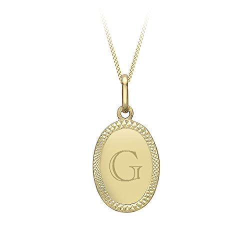 Carissima Gold Women's 9ct Yellow Gold Diamond Cut Edge Oval Pendant 11.6mm x 23.6mm on 9ct Yellow Gold Diamond Cut Curb Chain Necklace - 0.4mm - Length 46cm/18'