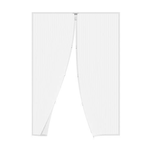 JAROLIFT Zanzariera a tenda magnetica per porte, 140 x 250 cm bianco, accorciabile in altezza e larghezza