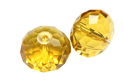 50pcs 6mm Adabele Austrian Rondelle Crystal Beads Amber Yellow Rondelle Spacer Compatible with 5040 Swarovski Crystals Preciosa SS1R-607