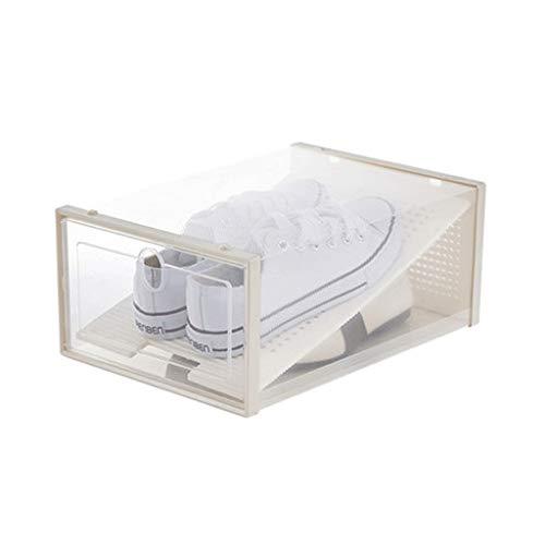 Caja de zapatos para zapatos, caja de almacenamiento de zapatos, caja de almacenamiento transparente para zapatos (color: blanco, tamaño: 24 x 14,5 x 35 cm)