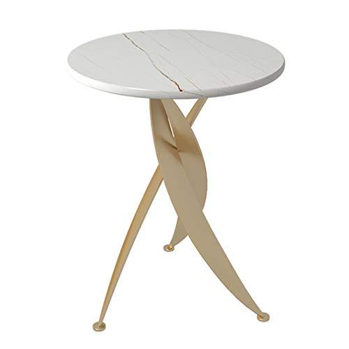 ERLAN Tavolino Samtida Slutbord Soffkonsolbord, Soffbord för Vardagsrum Sovrum Balkong, Vit Sintrad Stenöverdel (Color : Gold, Size : 45cm/17.7in)