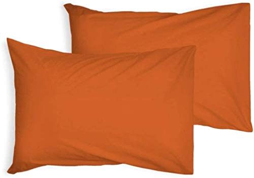 Full Fitted Sheet Bed Sheets 100% Poly Cotton Single Double King Super King Size (Orange, Pillow Case)