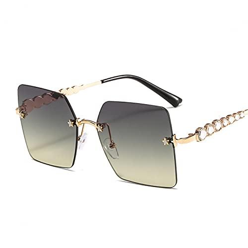 CJJCJJ Gafas de Sol cuadradas con Diamantes de imitación para Mujer Ojo de Gato gradiente para Viajes al Aire Libre Gafas para Fiestas en la Playa