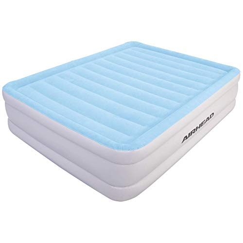 Airhead Plush Queen Air Mattress with Built-in Pump and Manual Valve – Double Height Comfort for Home or Camping, Blue/Gray (AHABQ-1803)