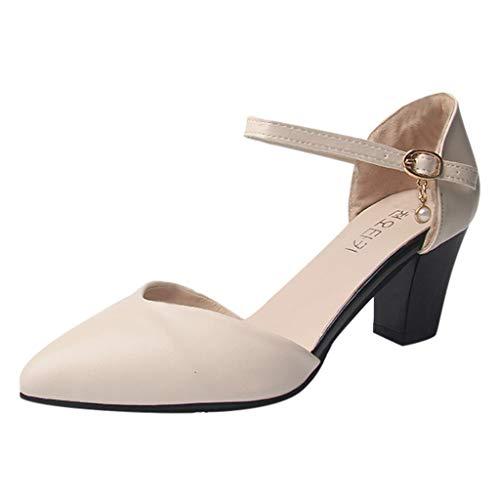 TWIFER Zapatos con Tacon y Correa de Tobillo para Mujer Zapatos de Tacón Alto para Mujer Sandalias Stilettos Color sólido Partido Moda Casual Zapatillas Moda Sandalias Tacón Beige, Negro, Amarillo