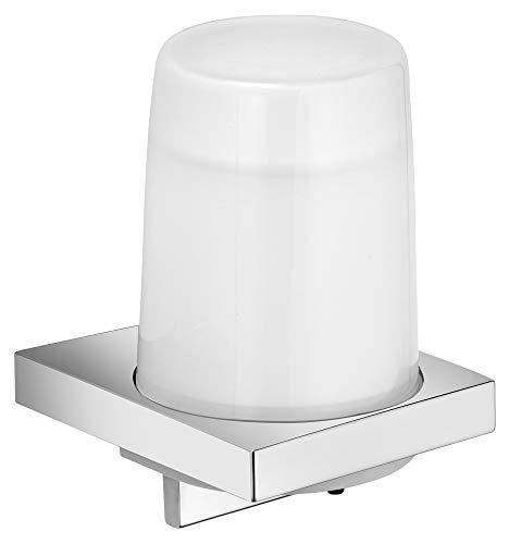 KEUCO Lotion-Spender Metall verchromt und Kristall-Glas, Inhalt nachfüllbar ca. 180ml, Seifenspender für Bad und Gäste-WC, Wandmontage, Edition 11
