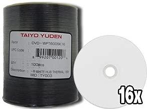 JVC (Taiyo Yuden) DVD-R 16X WHITE THERMAL.(EVEREST) 100 Pack