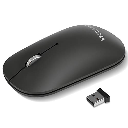 VicTsing Bluetooth Wireless Mouse, Connect 3 Devices(Dual Bluetooth & USB), Slim Silent Mouse- Reduce 90% Click Noise, 5 DPI High Accuracy USB Mouse for Laptop Windows Mac OS Android- Starry Black