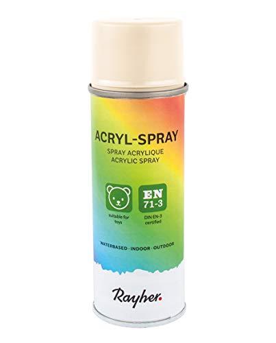 RAYHER HOBBY 34145508 Acryl-Spray, Acryllack, beige, seidenmatt, Sprühlack für innen und außen, hohe Deckkraft, umweltbewusst spraylackieren, Dose 200 ml